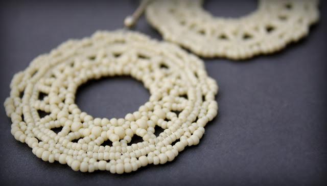 купить ажурные серьги из бисера ручной работы бисерное кружево