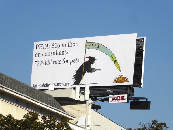PETA $16 million on consultants Animal Activist billboard