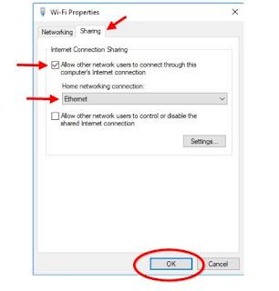 Wifi Network Sharing properties