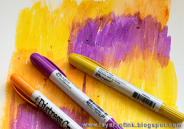 Layers of ink - Distress Crayon Texture Capture Life Journal Tutorial by Anna-Karin, with stamps by Darkroom Door