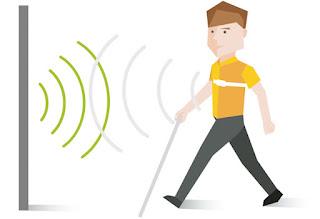 persona con el dispositivo Guidesense en el que detecta las ondas un objeto