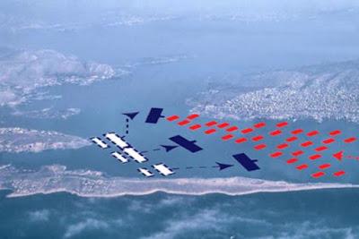 Battaglia di Salamina - la flotta achemenide, in rosso, entrò da est, a destra, e affrontò la flotta greca, in blu, entro i confini dello stretto.