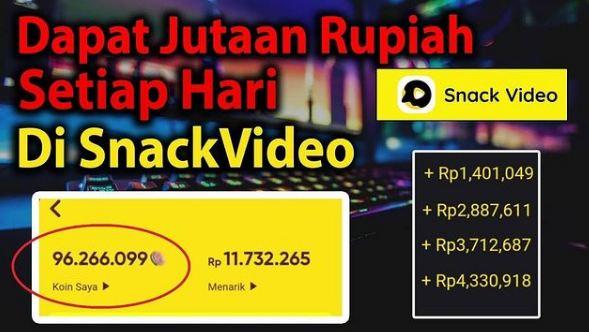 cara mendapatkan uang dari aplikasi snack video, Cara tarik uang di snack video