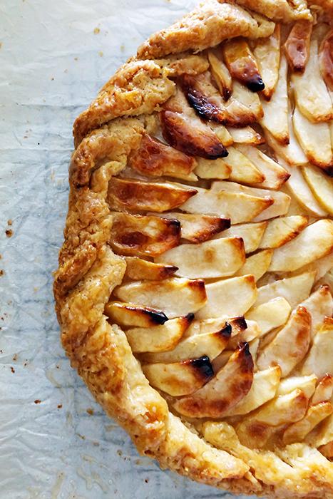 closer view rustic apple tart
