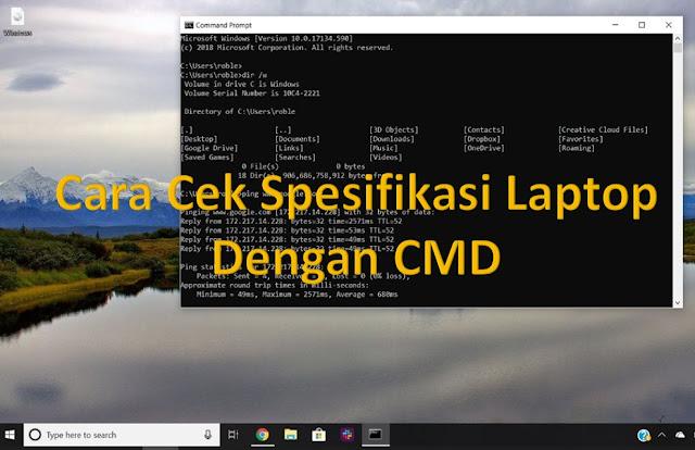 cek spesifikasi laptop dan komputer dengan cmd
