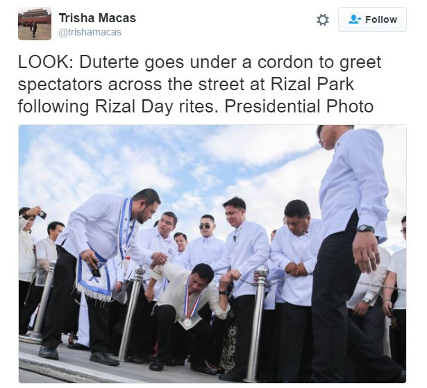 President Duterte Breaks Protocol To Meet And Greet His Supporters Celebrating Rizal Day At Luneta