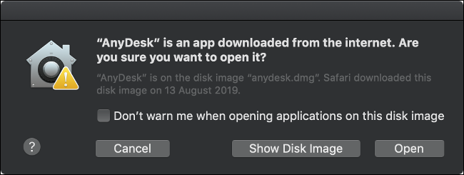نظام MacOS GateKeeper تحذير منبثق.