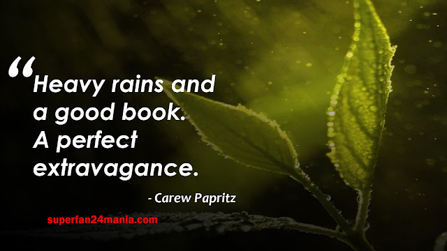 heavy rain and a good book. A perfect extravagance.