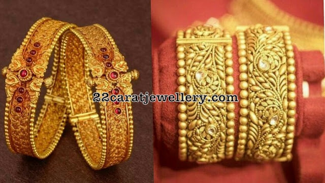 Antique Broad Bangles with Floral Design