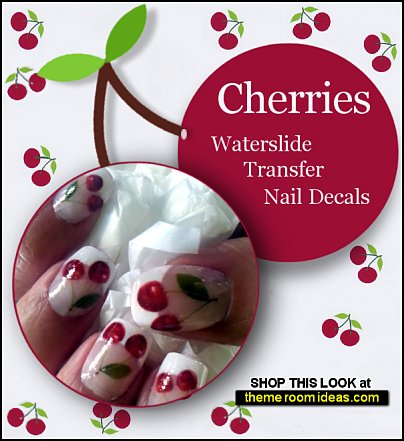CHERRIES Nail Art  cherry Waterslide Transfer Decals Cute red Cherries Green Leaves  nail Stickers fruit nails