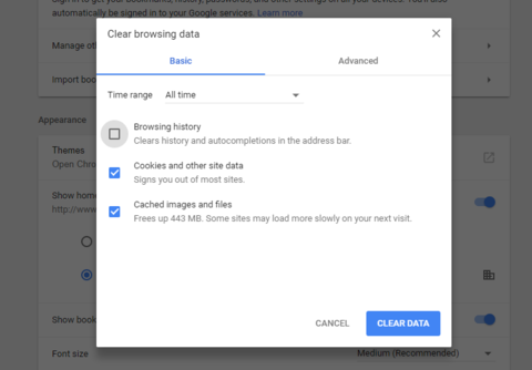 Clear Browsing Data Chrome