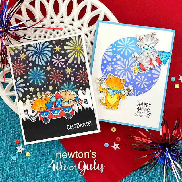 4th of July cards by Jennifer Jackson | Newton's 4th of July Stamp Set and Fireworks Stencil by Newton's Nook Designs #newtonsnook