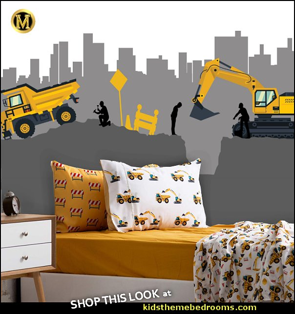 Construction Site Wall Decal Boys Wall Mural Digger Machine Mural  Construction & Tractor Print Bed Sheets  construction bedrooms