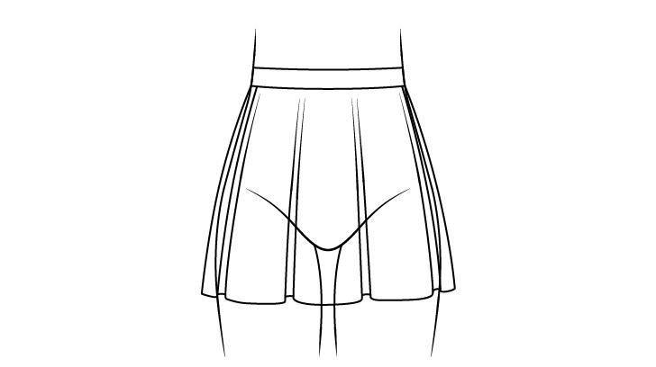 Rok anime dengan gambar garis lipatan