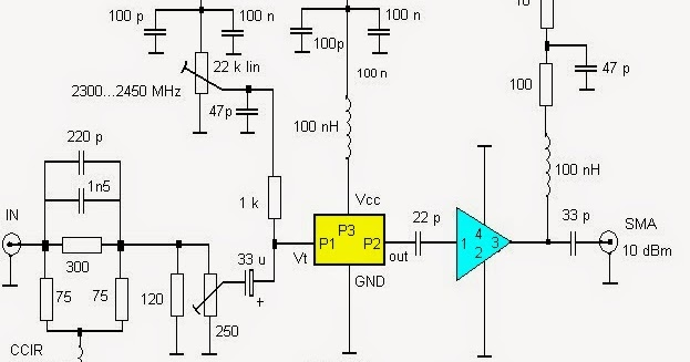 Ron's Radio Corner : Circuit diagrams of 13 cm ATV transmitter