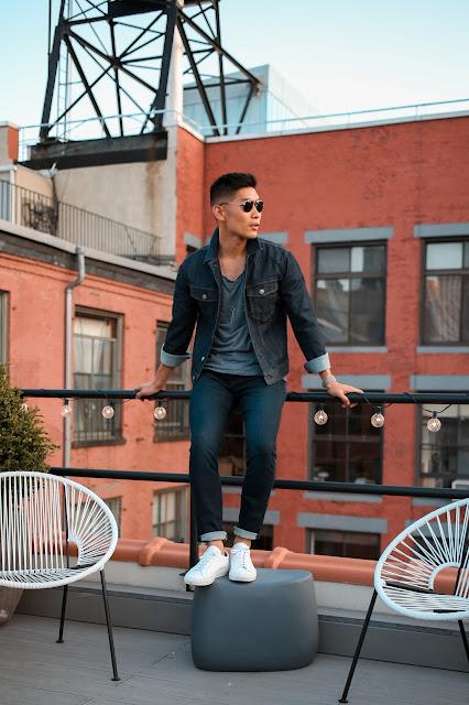 Men's Summer Style, Denim Jacket, Double Denim, Day to Night, The Express Life, Prada Sunglasses