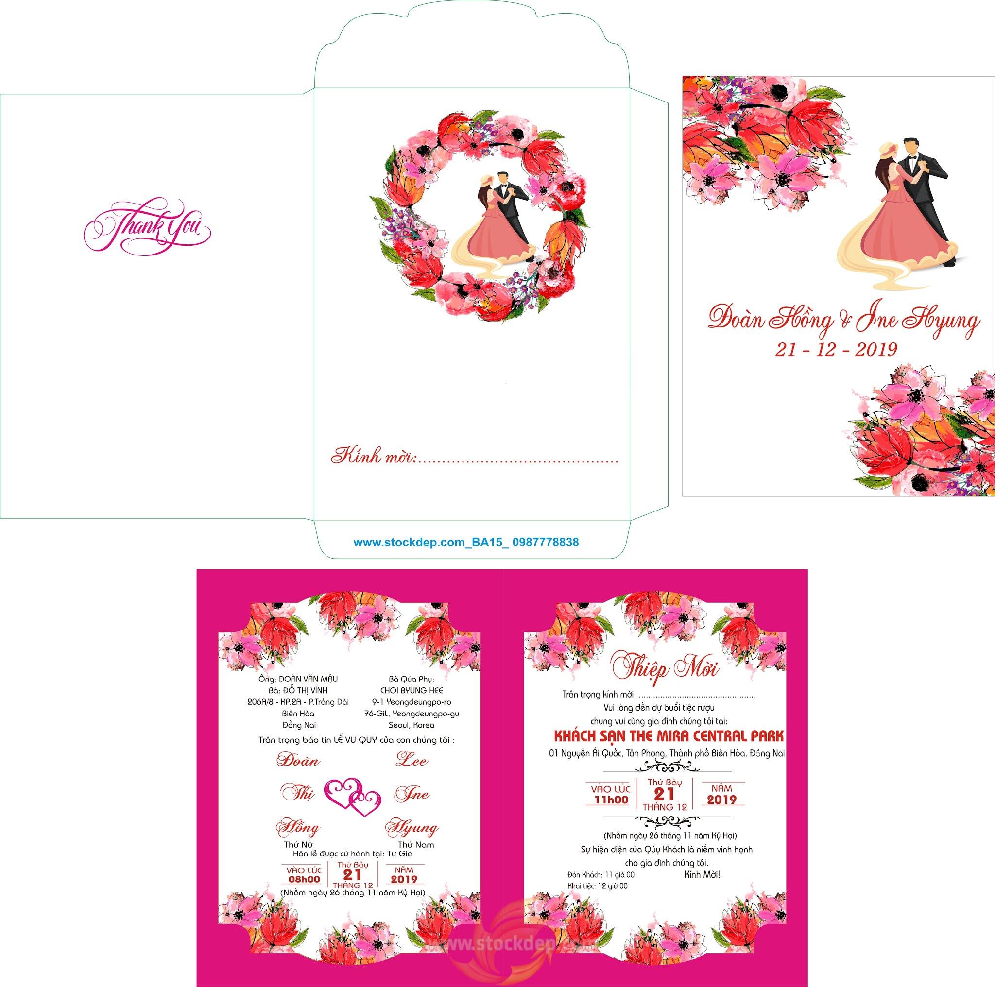 Thiệp cưới in màu vector thiết kế đẹp