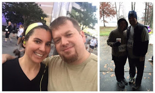 Me and my husband at different Thanksgiving 5k running races.