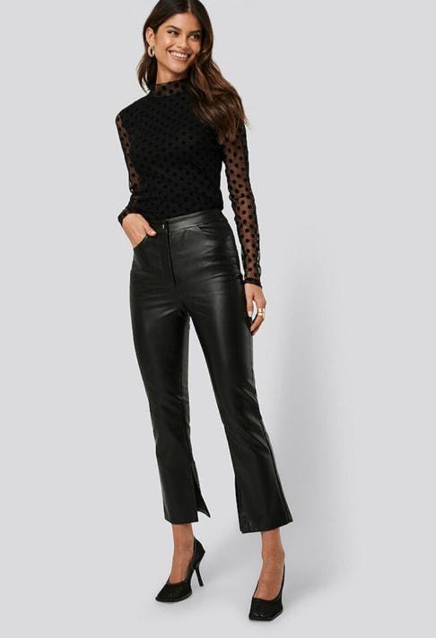 NA-KD Pantaloni de piele ecologica cu talie inalta