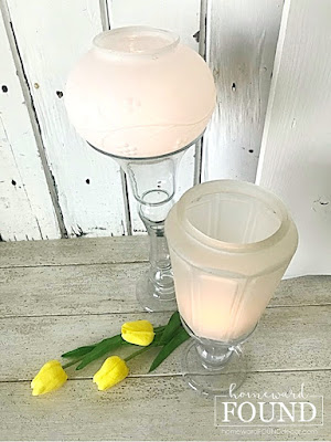 vintage glass light globes,candleholders,spring decor,spring decorating,vintage lighting,battery candles,vintage,up-cycling,re-purposing,lighting,thrifted,outdoors,salvaged,junk makeover,glass globes,DIY,diy decorating,decorating, flower vases,candles,salvaged materials, diy home decor
