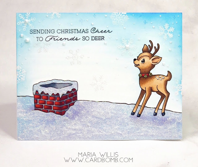 #cardbomb, #mariawillis, #cards, #stamp, #ink, #paper, #papercraft, #handmade, #handmadecards, #christmas, #reindeer, #art, #color, #diy, #craft, #create, #hellobluebird, #rooftopreindeer