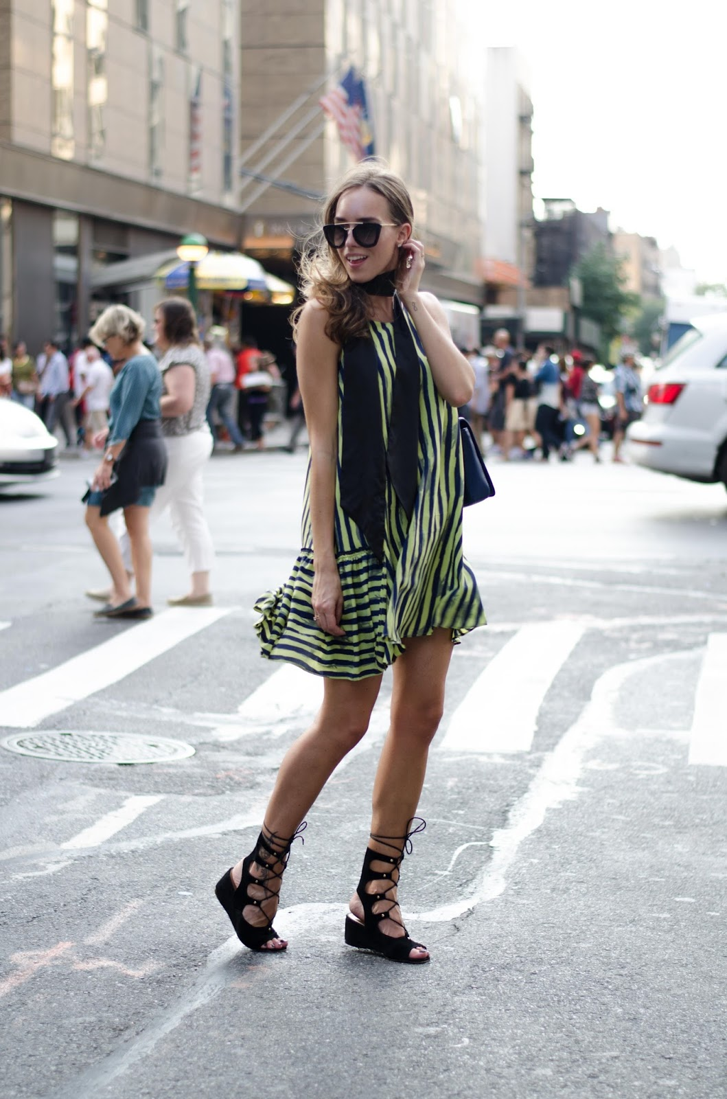 new york street style striped dress
