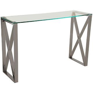 mueble recibidor acero cristal actual