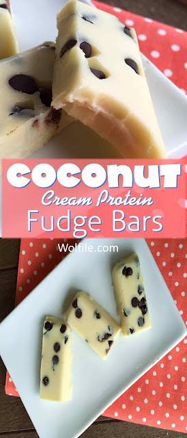 Coconut Cream Protein Fudge Bars Recipe #Snack
