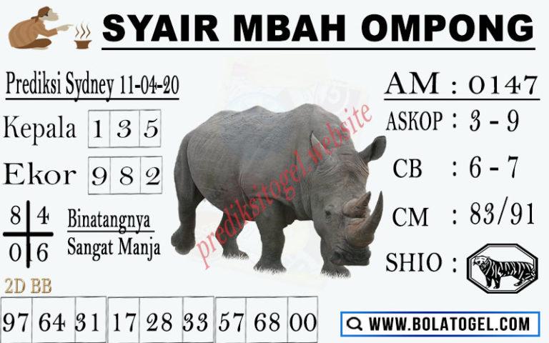 Prediksi Sydney Sabtu 11 April 2020 - Syair Mbah Ompong
