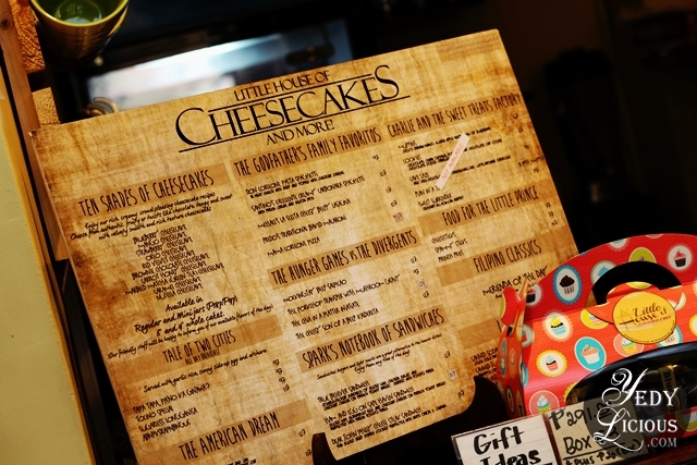 Menu at Little House of Cheesecakes