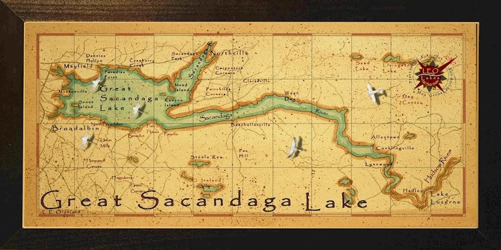 Leo Lakes Beautiful Great Sacandaga Lake Map
