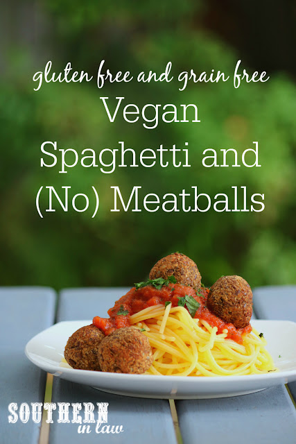 Vegan Spaghetti and Meatballs Recipe - low fat, low carb, grain free, gluten free, nut free, soy free, vegan, meatless, meat free, vegetarian