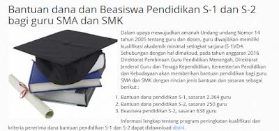 Beasiswa S2 Guru SMA/SMK 2016