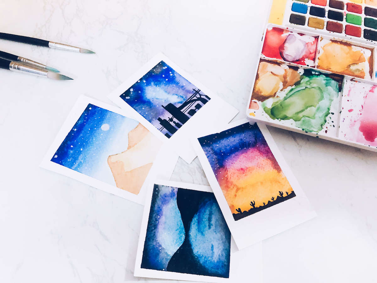 diy watercolor mini paintings
