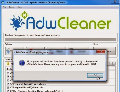 AdwCleaner Removal Process-to remove pop-ups generating adware