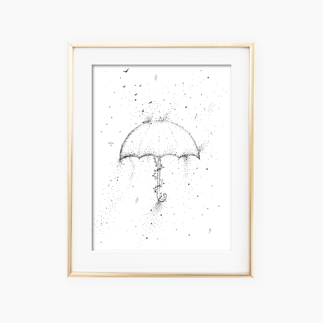 Umbrella Black and White Artwork