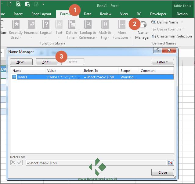 Cara Merubah Nama Tabel Excel