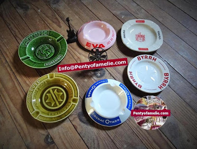 French vintage Beer Cognac Byrrh Cusenier Liquor Advertising smoking ashtrays made in France.