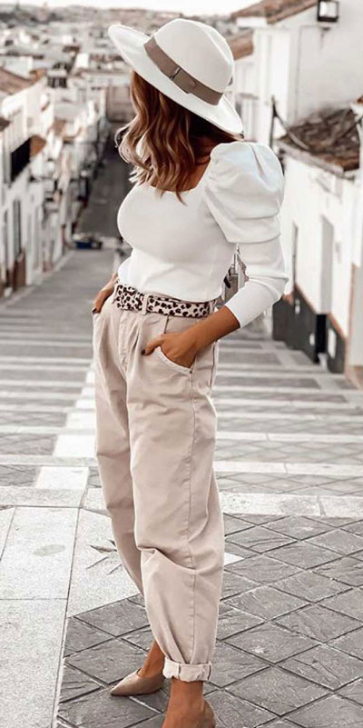 Are you wondering which pieces of clothing are in style this winter? Here we've prepared a complete list of the best winter fashion lookbook. Women's Outfit Ideas via higiggle.com | white top + trouser | #winterstyle #fashion #trouser