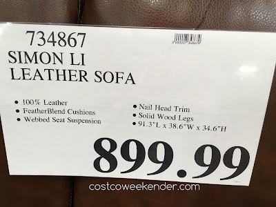 Deal for the Simon Li Leather Sofa at Costco