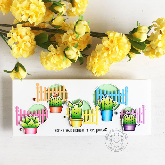 Sunny Studio Stamps: Scalloped Fence Dies Looking Sharp Staggered Circle Dies Everyday Card by Candice Fisher