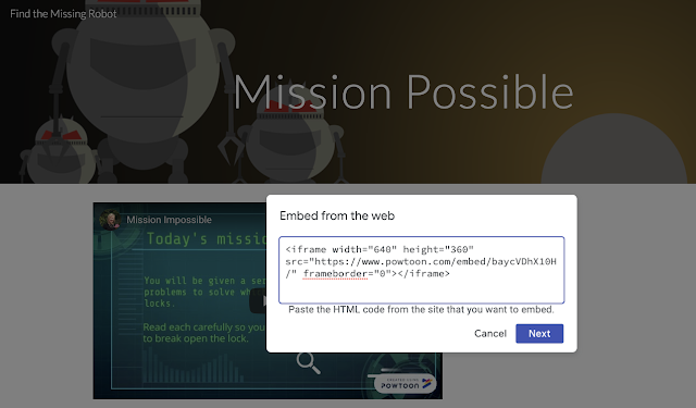 Image from Google escape room embedding the html Powtoon video