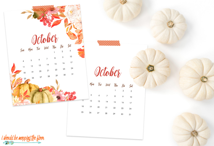 Instant Download October Calendar Printable