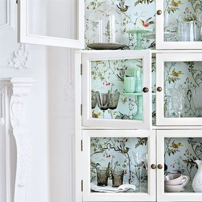 {décor inspiration: wallpapered cabinets}