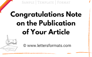 congratulations on the publication of your article
