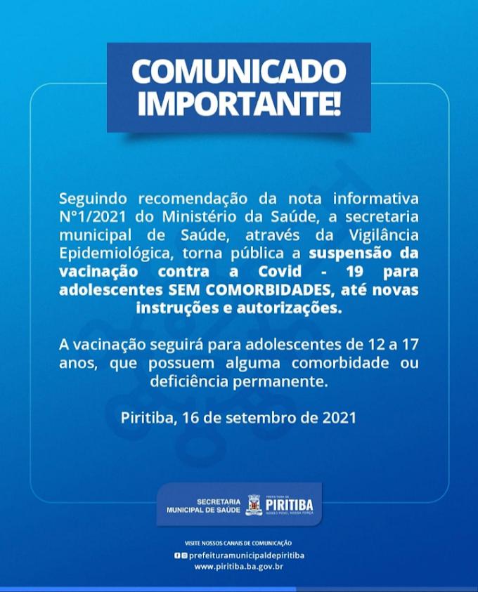 Piritiba: Comunicado importante da secretaria de saúde