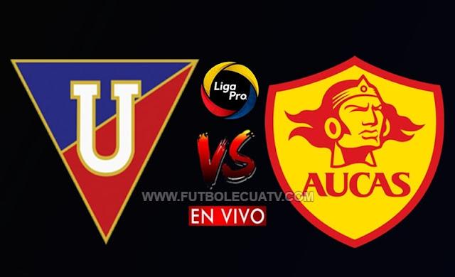 Liga de Quito y Aucas protagonizan en choque en vivo desde las 18:30 por la jornada doce del campeonato ecuatoriano, siendo emitido por GolTV Ecuador, a efectuarse en el estadio Rodrigo Paz Delgado. Con arbitraje principal de Franklin Congo.