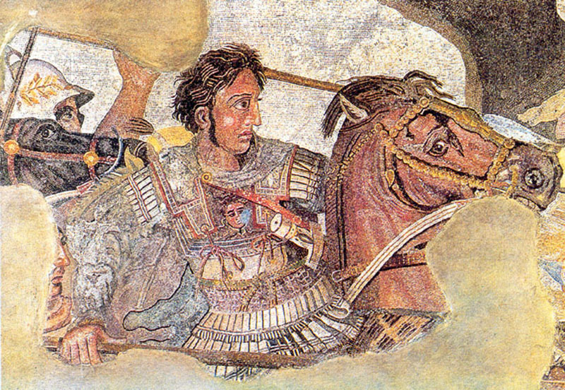 Mosaic, representing Alexander the Great on his horse Bucephalus - circa 300 BC