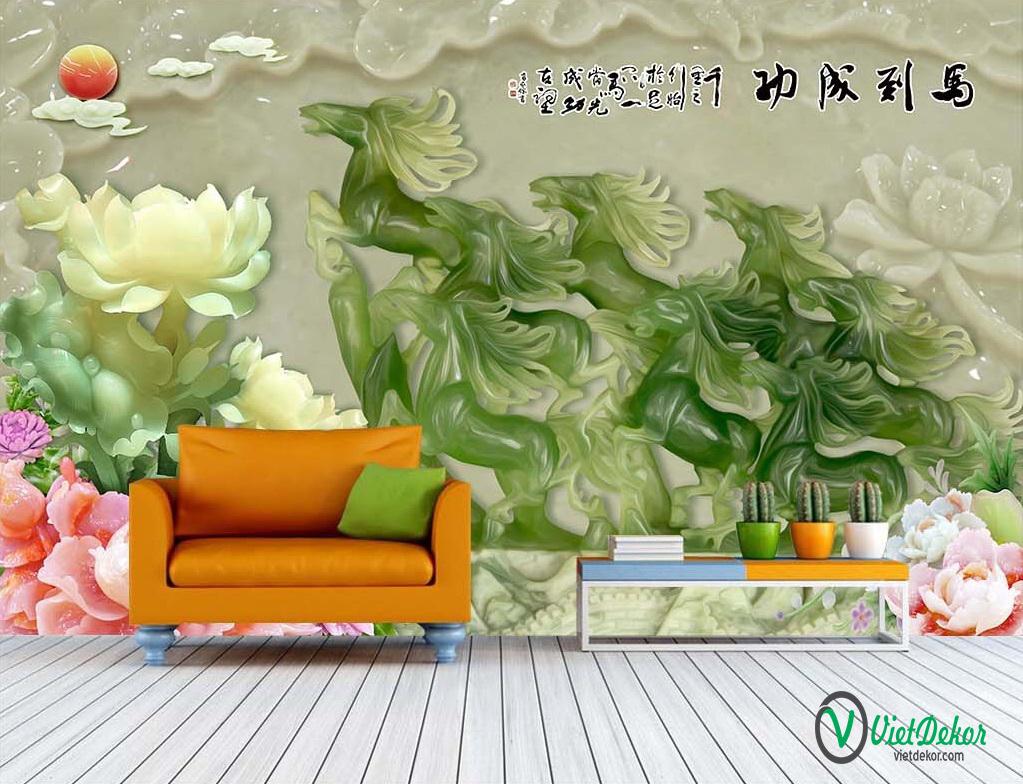 Tranh dán tường 3d hoa mẫu đơn mã đáo thành công ngọc bích