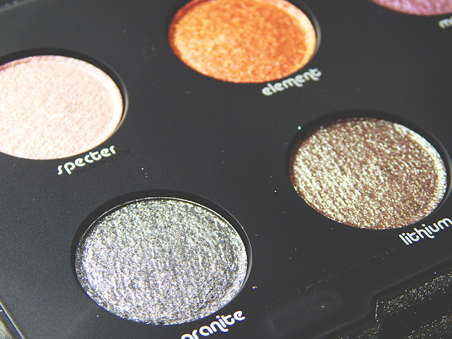 Urban Decay moondust palette close up of Specter, Element, Granite, and Lithium.